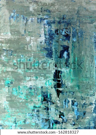 Turquoise and Beige Abstract Art Painting - stock photo