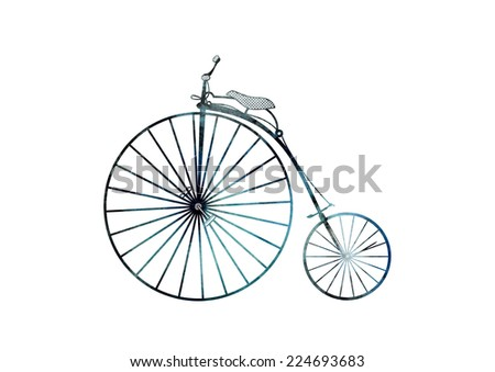 Turquoise and black watercolor and ink hand drawn retro bicycle . Model Ariel - stock photo