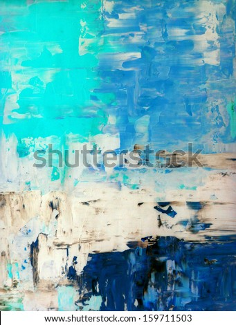 Turquoise and Blue Abstract Art Painting - stock photo