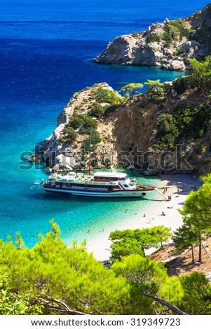 turquoise beaches of Greece - impressive Apella in Karpathos isl - stock photo