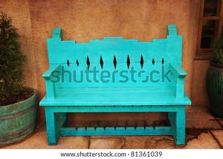 Turquoise bench in Santa Fe, New Mexico - stock photo