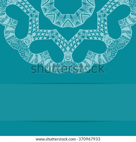 Turquoise blue card with handdrawn style pattern and copy space. Zentangle ornament - stock photo