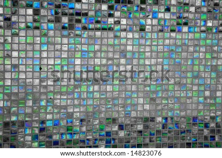 Turquoise colored mosaic squares - stock photo