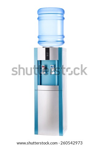 Turquoise cooler with bottle isolated on white. - stock photo