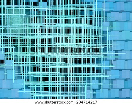 Turquoise grid and square shape pattern as abstract background.Digitally generated image. - stock photo