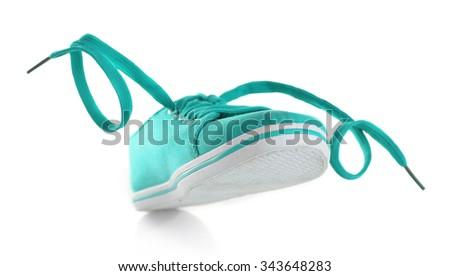 Turquoise gumshoe isolated on white - stock photo