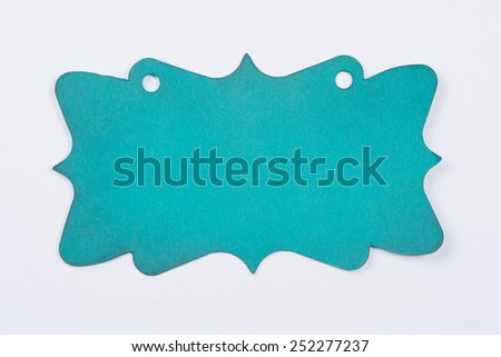 Turquoise hang tag isolated on white - stock photo