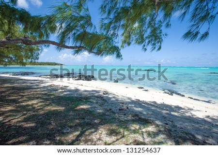 Turquoise lagoon of Ile aux Cerfs beach near Mauritius Island - stock photo