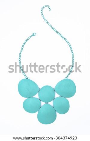 turquoise necklace isolated on white - stock photo