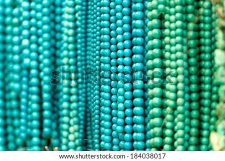 Turquoise necklaces. - stock photo
