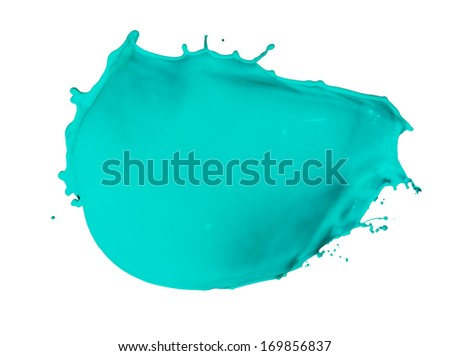 turquoise paint splash isolated on white background - stock photo