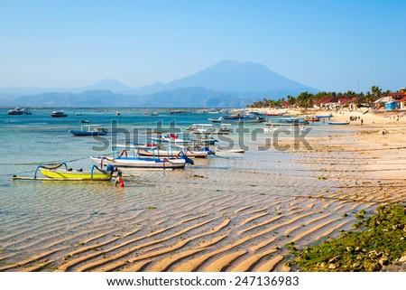 Turquoise paradise beach at Nusa Lembongan island, Indonesia - stock photo