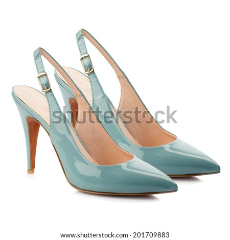 Turquoise patent high heel women shoe isolated on white background. - stock photo