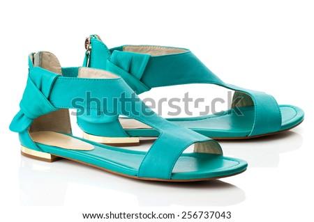 Turquoise sandal isolated on white background. - stock photo