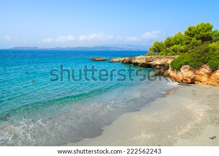 Turquoise sea at sandy Lassi beach on Kefalonia island, Greece - stock photo