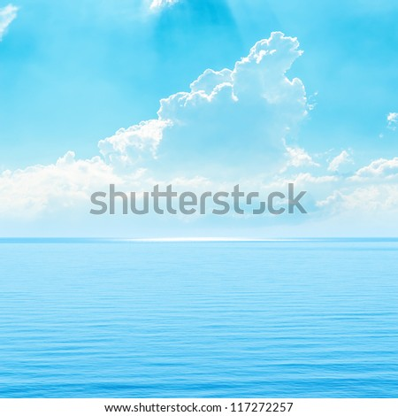 turquoise sky and sea - stock photo