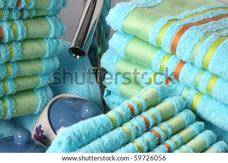 Turquoise towels - stock photo