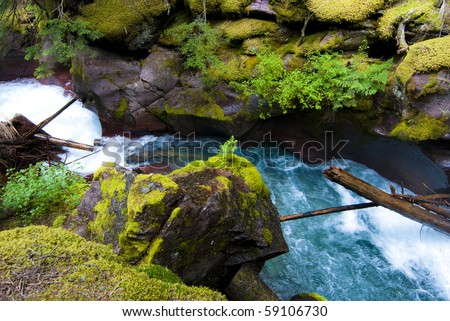 Turquoise water flowing down Avalanche Gorge at Glacier National Park. - stock photo