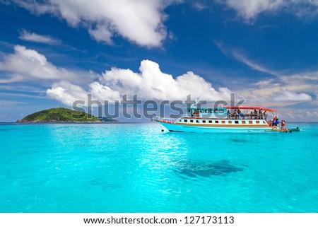 Turquoise water of Andaman Sea at Similan islands, Thailand - stock photo