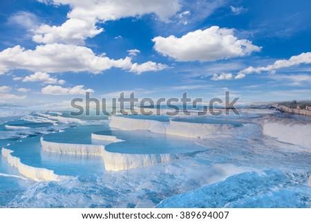 turquoise water travertine pools at pamukkale - stock photo