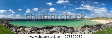 Turquoise waters of Luskentyre beach on the Isle of Harris, Outer Hebrides, Scotland - stock photo