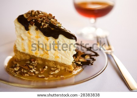 turtle cheesecake with brandy and fork - stock photo