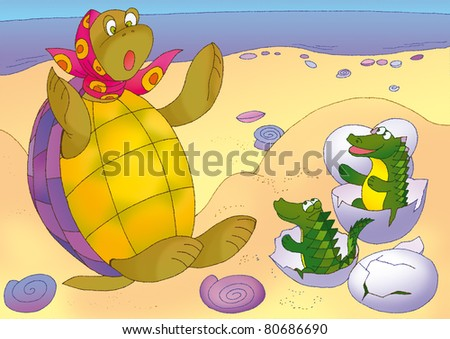 turtle dug up eggs and surprised to posterity - stock photo
