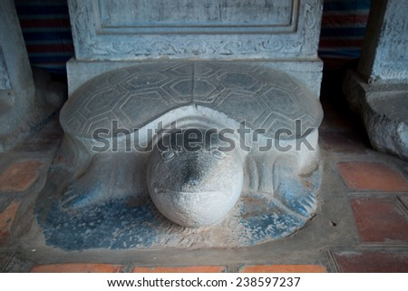 Turtle stone steles, bearing the names of Doctoral laureates of the Temple of Literature between 1142 and 1778 in Vietnam at Van Mieu - Quoc Tu Giam (Temple of Literature) in Hanoi. - stock photo