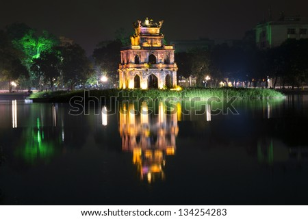 Turtle Tower at night on Hoan Kiem Lake. Vietnam. - stock photo