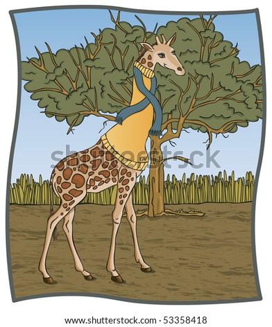 Turtleneck Giraffe - RASTER Version - stock photo