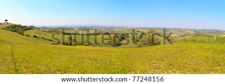 Tuscan hill panorama (high res), Tuscany, Italy - stock photo