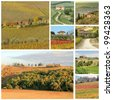 tuscan landscape collage with country houses,Tuscany,  Italy,  Europe - stock photo