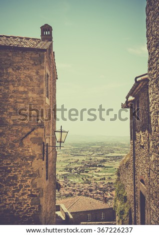 Tuscan landscape seen from antique Cortona town, Italy - stock photo