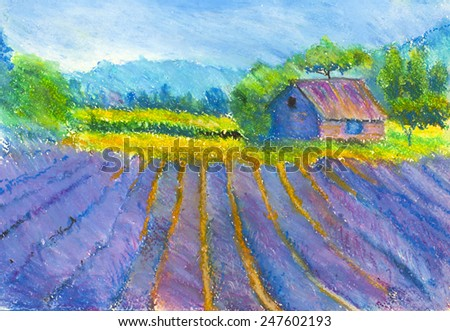 Tuscan landscape with house and fields - stock photo