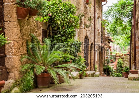 Tuscan Street in the city full of flowery porches - stock photo