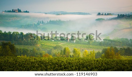 Tuscan valley covered by the summer morning fog. Italy - stock photo
