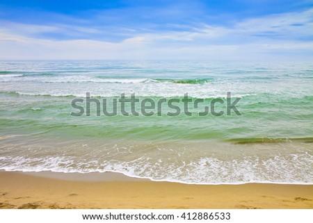 Tuscany coastline with sandy beach (Italy) - stock photo