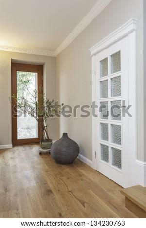 Tuscany - corridor and huge glass door - stock photo