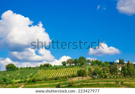 Tuscany, italian rural landscape. Top of the high hill - stock photo