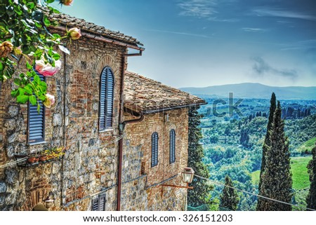 Tuscany landscape seen from San Gimignano, Italy - stock photo