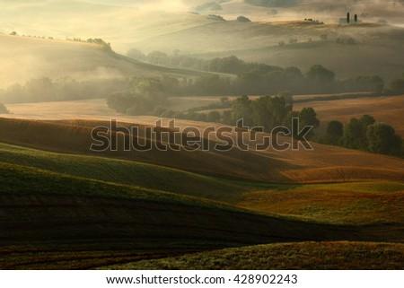 Tuscany landscape with fog. Sunrise morning in Tuscany landscape. Idyllic view of hilly farmland in Tuscany in beautiful morning light, Italy. Morning with fog in Tuscany. Foggy morning with sunrise. - stock photo