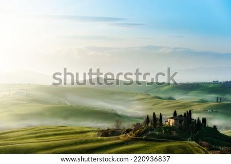 Tuscany, panoramic landscape - stock photo