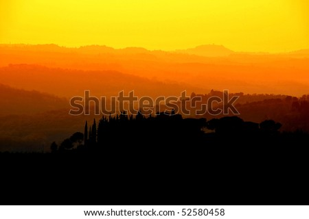Tuscany's silhouette - stock photo