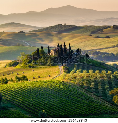 Tuscany - scenic landscape, Italy - stock photo