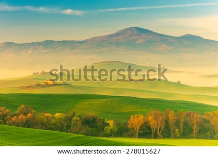 Tuscany Spring Landscape Italy - stock photo