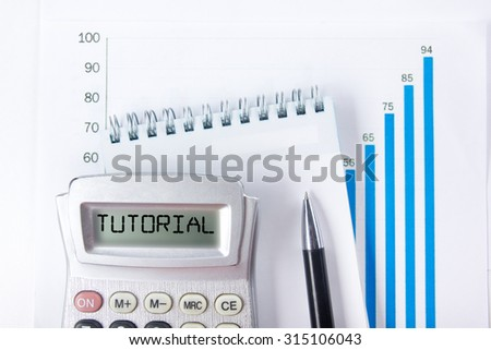 Tutorial - Financial accounting stock market graphs analysis. Calculator, notebook with blank sheet of paper, pen on chart. Top view - stock photo