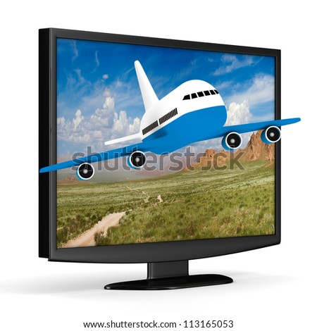 TV and airplane on white background. Isolated 3D image - stock photo