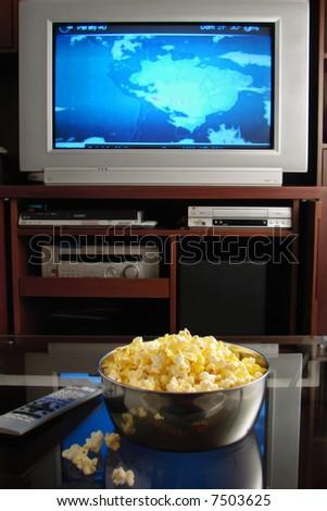 tv and popcorn - stock photo