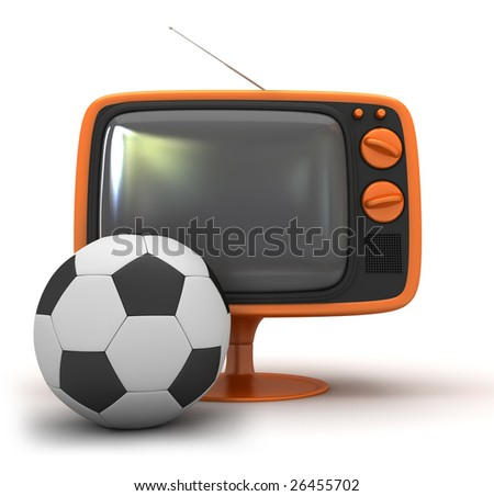 tv and soccer ball - stock photo