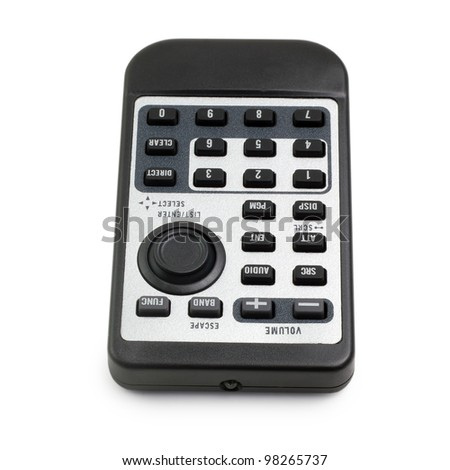 tv black remote control car radio from isolated (clipping path) - stock photo